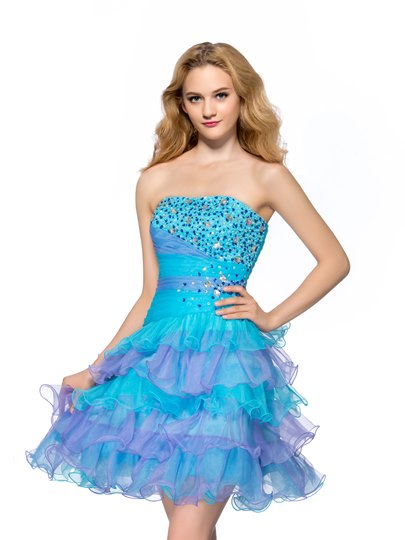 A-line Strapless Short/Mini Ruffles Tiered Beads Homecoming Dress