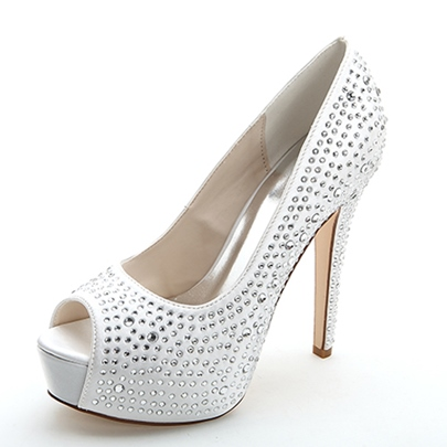 Beading High Heel Peep-Toe Wedding Shoes