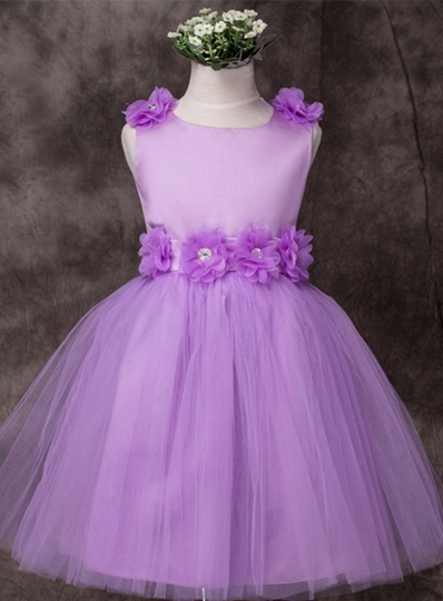 Scoop Neck Knee Length Flower Girl Dress