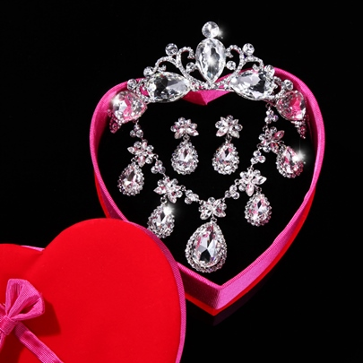 Drop-shaped Rhinestone Wedding Jewelry Set(Include Necklace and Earring)