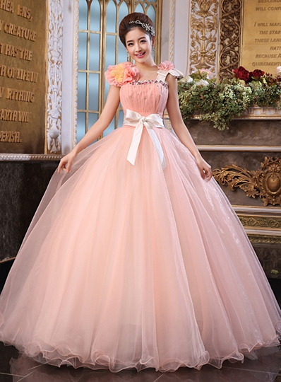 A-line Straps Flowers Bowknot Floor-Length Quinceanera Dress