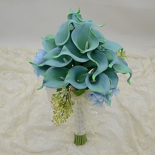 Green PU Feel Calla Lily Flower Wedding Bouquet