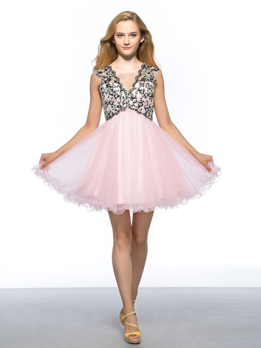 V-Neck Backless Beading Short Homecoming Dress