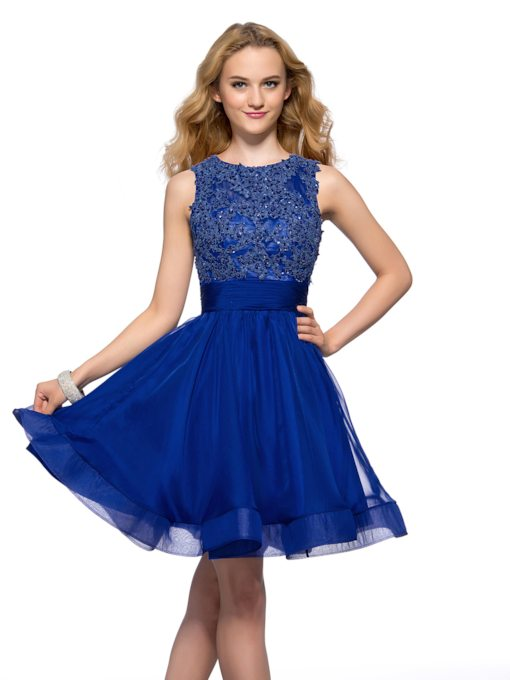 Backless A-line Beadings Bateau Neck Short Homecoming Dress