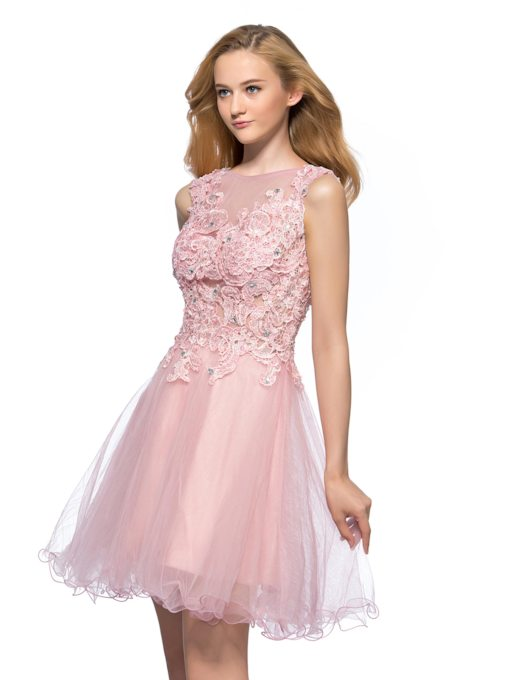 Bateau Neck Appliques Short Homecoming Dress