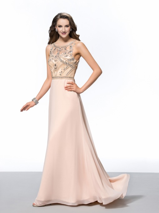 A-Line Scoop Beadings Evening Dress
