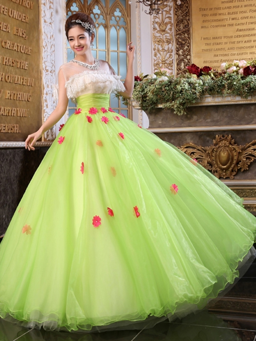 Pearls Lace Appliques Quinceanera Dress