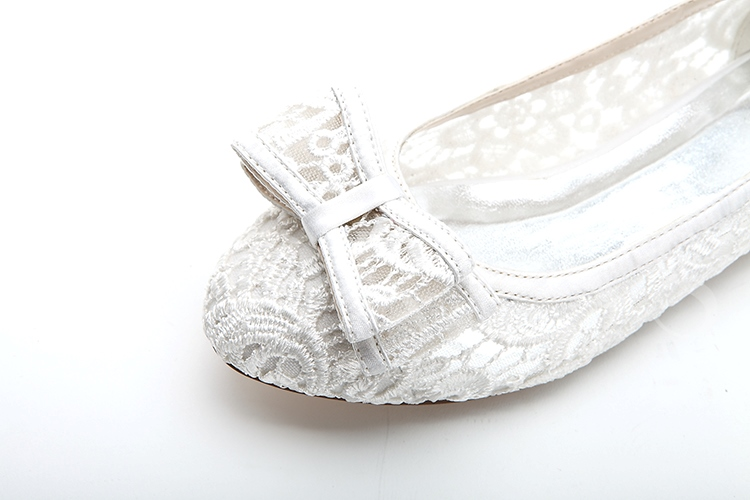 Lace White/Pink Flat Wedding Shoes