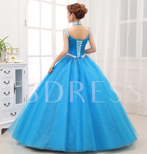 A-line Halter Rhinestone Floor-Length Quinceanera Dress