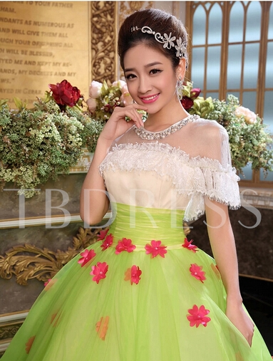 A-line Jewel Neck Pearls Lace Floor-Length Quinceanera Dress