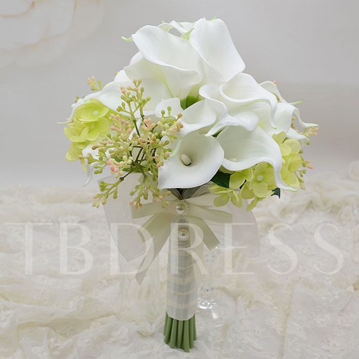 White PU Feel Calla Lily Flower Wedding Bouquet