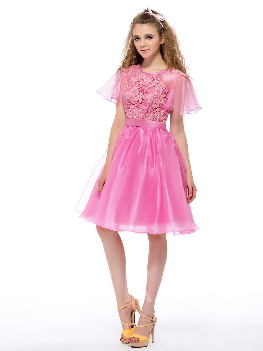 Lace Short Sleeves A-Line Short Homecoming Dress