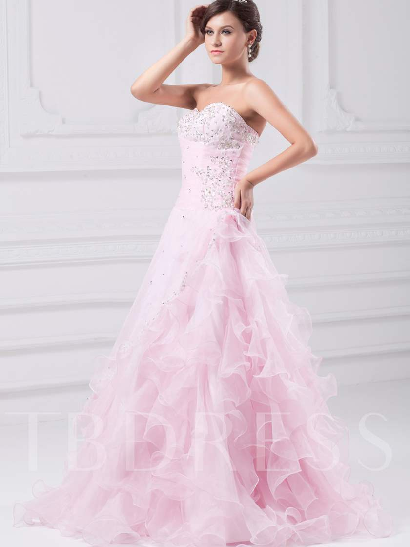 Sweetheart Beaded Ruched Floor-length Ball Gown/Quinceanera Dress
