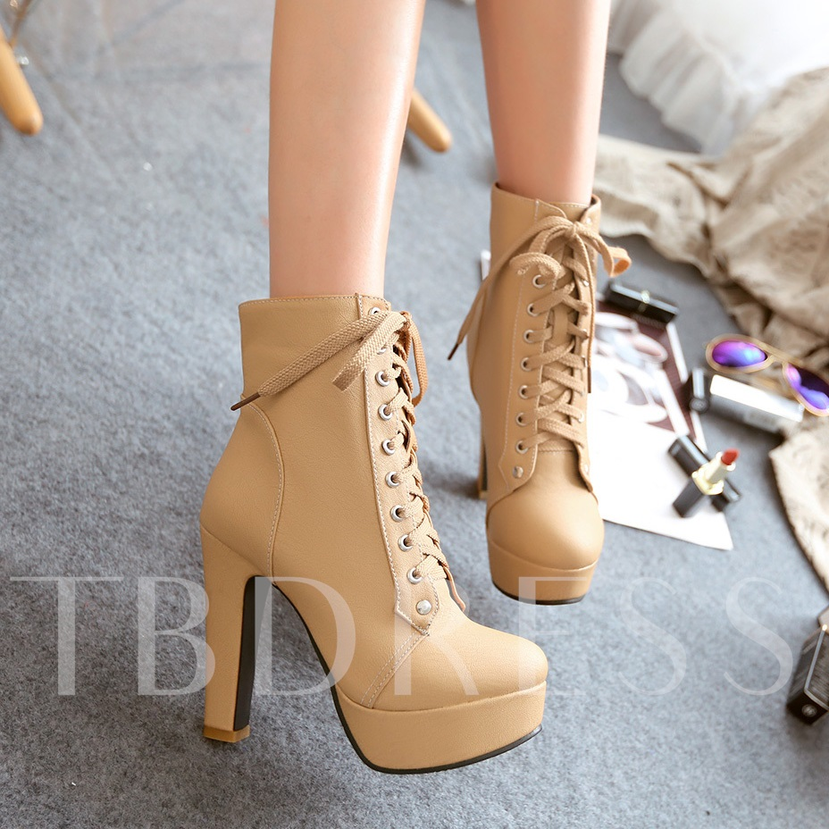 Solid Color Lace-Up Stiletto Heels Short Boots