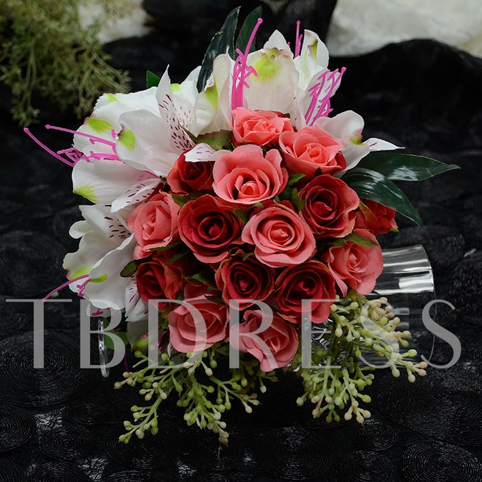 Red Little Rose And Lily Flower Wedding Bouquet