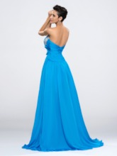 Beaded Sweetheart Ruched Chiffon Split Front Evening Dress
