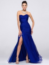 Strapless Ruched Split-Front Sheath Evening Dress