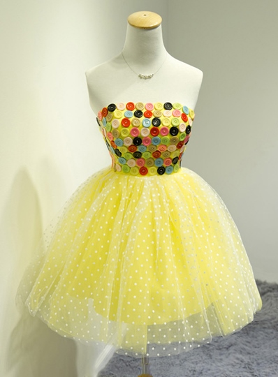 A-Line Strapless Button Short Homecoming Dress