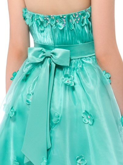 A-line Strapless Flowers Knee-length Homecoming Dress