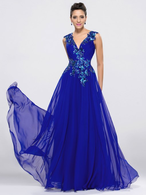 V-Neck Sequins Appliques Dark Royal Blue Prom Dress