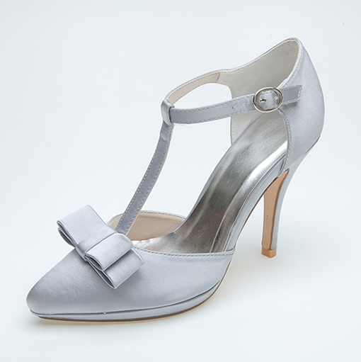 T-Shaped Strap Point Toe Satin Wedding Shoes