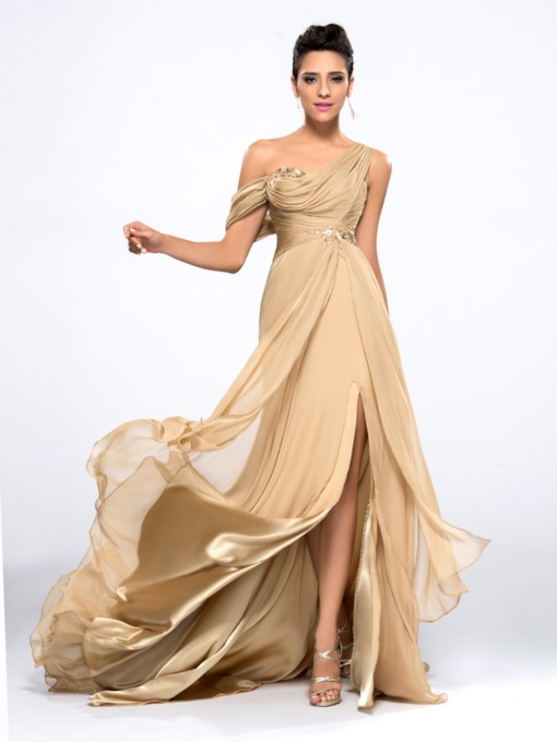 Split-Front One Shoulder Draped Sequins Evening Dress