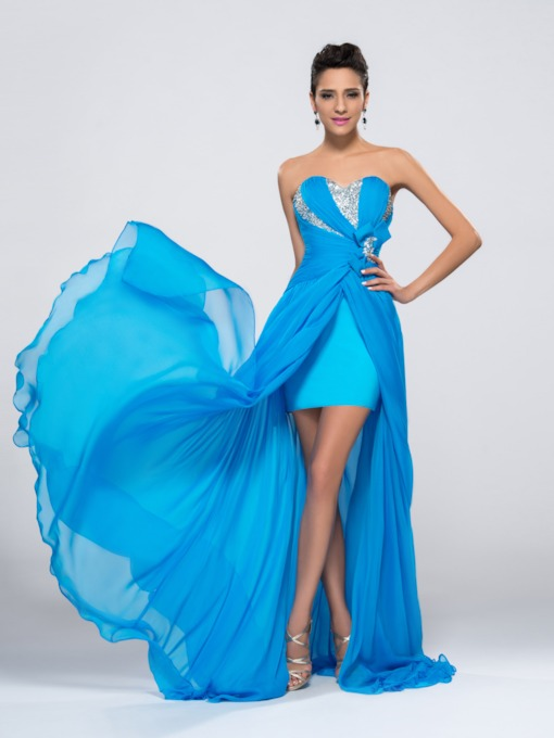 Strapless Sequins Beading Split Front Prom Dress