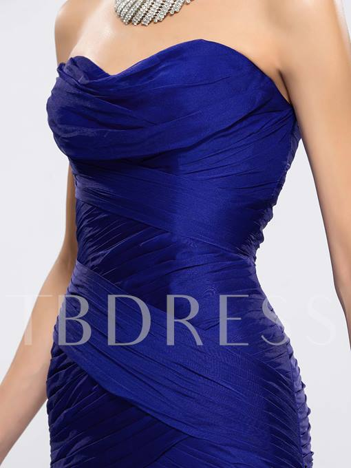 Ruched Strapless Split-Front Mermaid Evening Dress