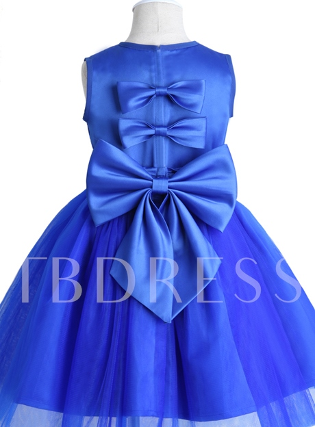 Scoop Neck Sequins Bowknot Flower Girl Dress