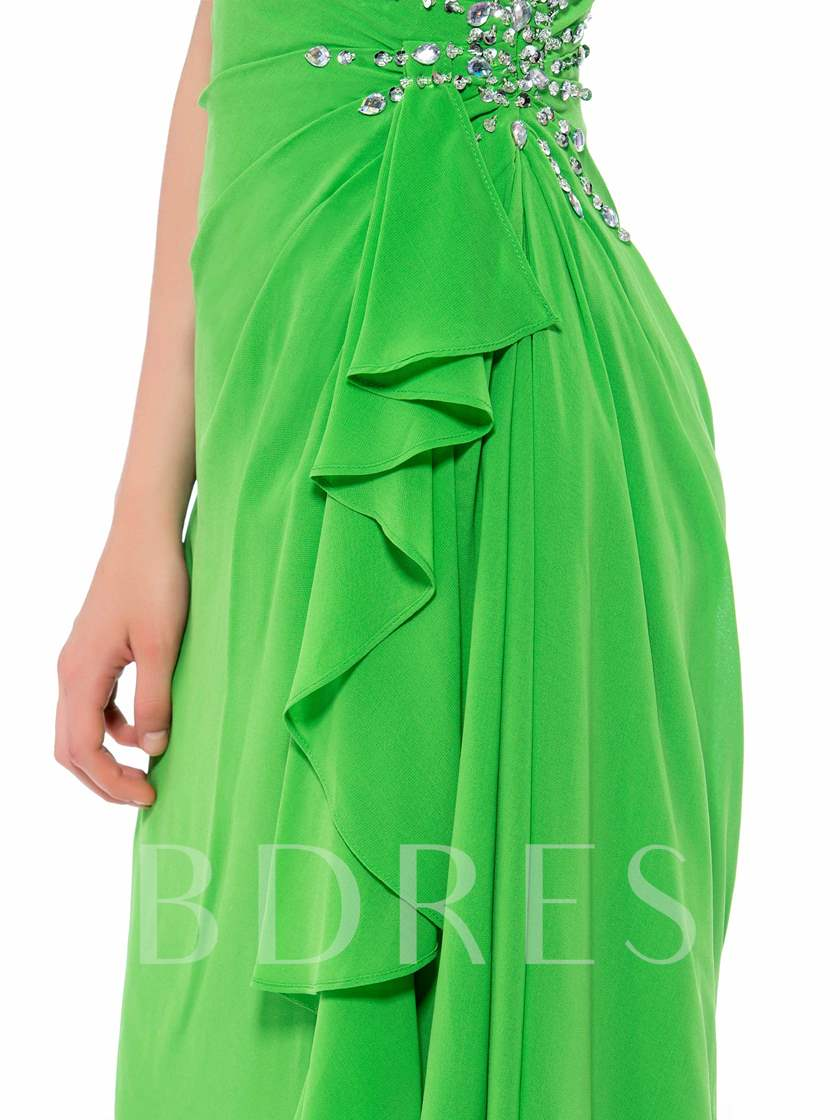 Beaded One Shoulder Strap Short A-Line Homecoming Dress