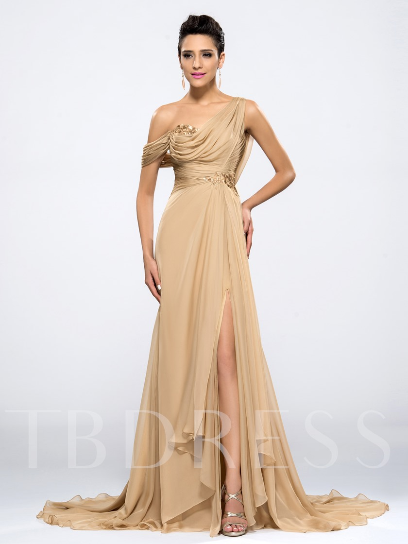 Split-Front Draped Sequins Evening Dress
