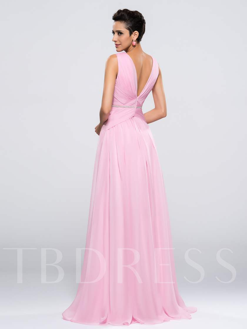 Deep V-Neck A-Line Ruched Floor Length Zipper-up Evening/Prom Dress