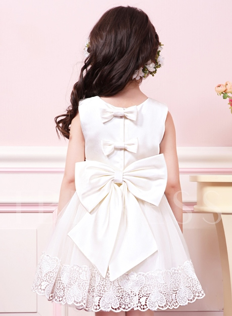Bowknot Scoop Neck Appliques Flower Girl Dress