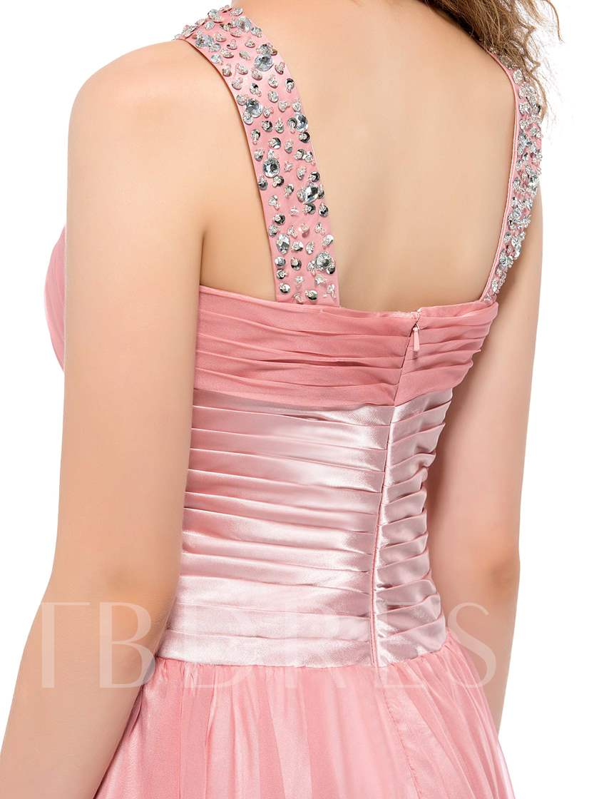 A-Line Beading Straps Knee-Length Homecoming Dress