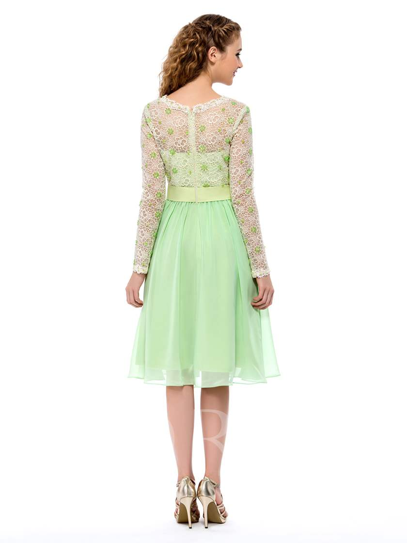 Jewel Neck Beaded Long Sleeves Lace Homecoming Dress
