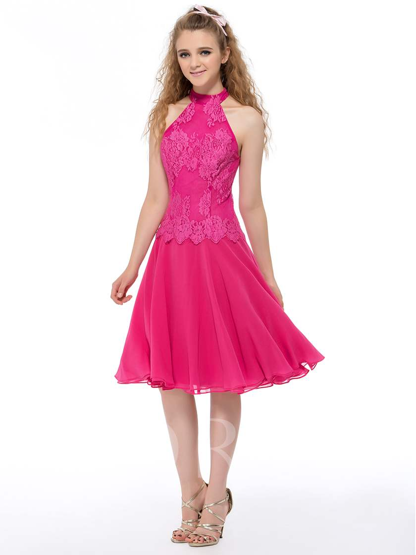 High Neck Short Lace Homecoming Dress