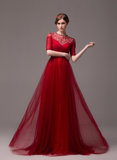 Jewel Neck Beadings Floor-length Evening Dress