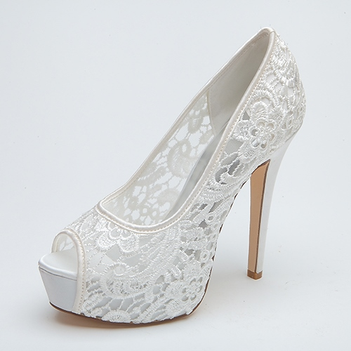 Lace Peep-Toe High Heel Wedding Shoes