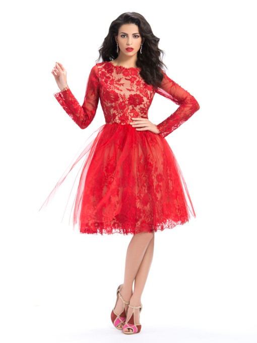 Bateau Neckline Lace Long Sleeves A-Line Knee-Length Homecoming Dress