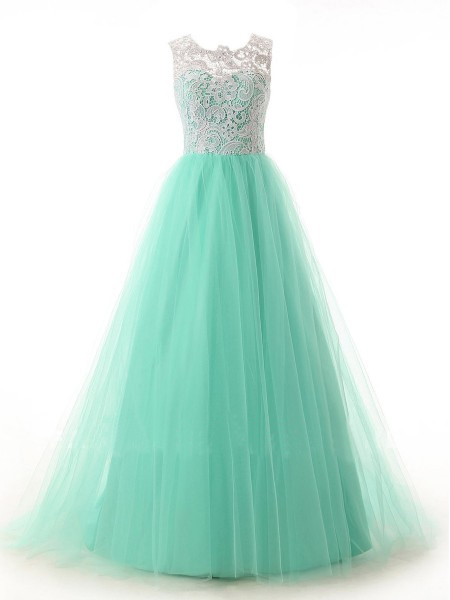 A-Line Scoop Lace Sleeveless Floor-length Tulle Prom Dress