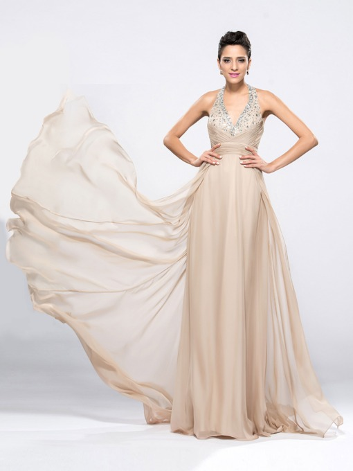 Beading V-Neck Halter A-Line Evening Dress