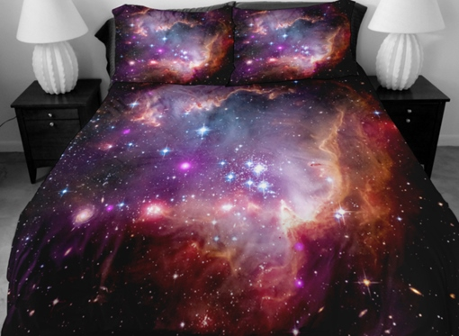 Gorgeous Shining Purple Star Print 4-Piece Bedding Sets/Duvet Covers