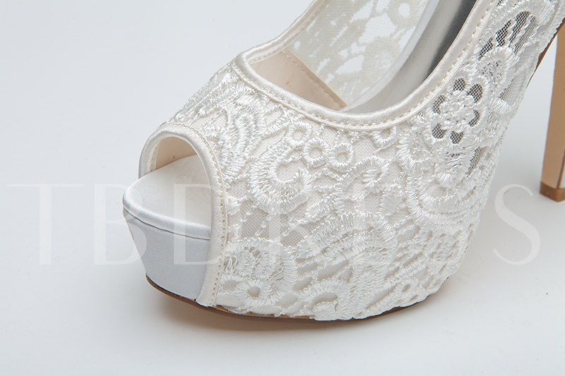 Lace Bowknot Peep-Toe High Heel Wedding Shoes