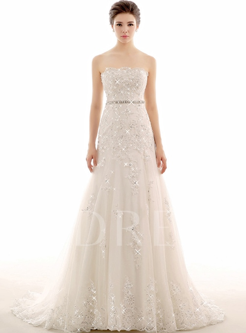 Strapless Appliques Sheath Beading Wedding Dress
