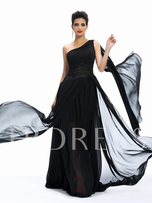 One-Shoulder Lace A-Line Ruffles Long Evening Dress