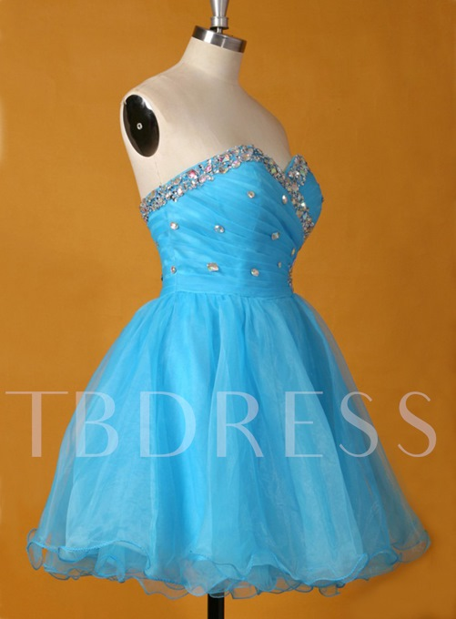 A-Line Sweetheart Beaded Pleats Mini Homecoming Dress