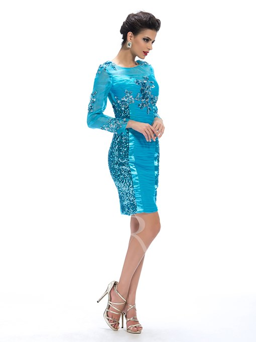 Sequins Column Appliques Cocktail Dress
