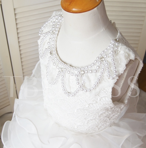 Pearls Tiered Bowknot Lace Flower Girl Dress