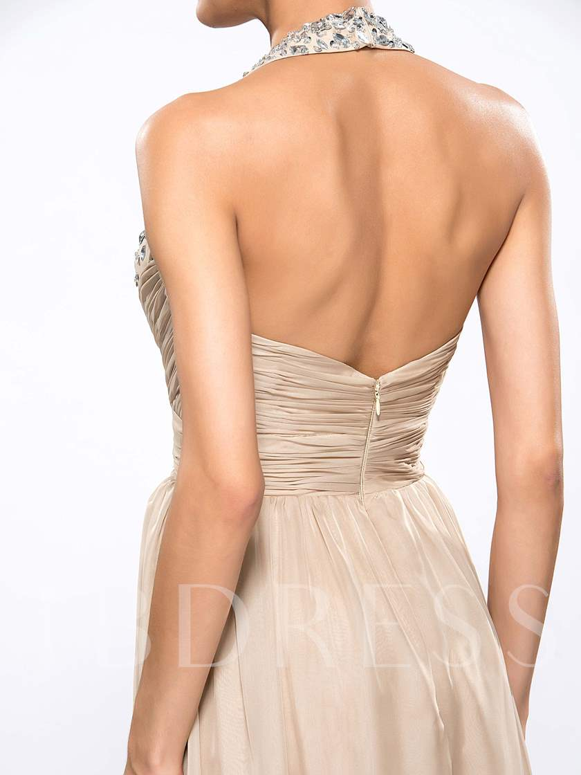 Halter V-Neck A-Line Pleats Beading Evening Dress
