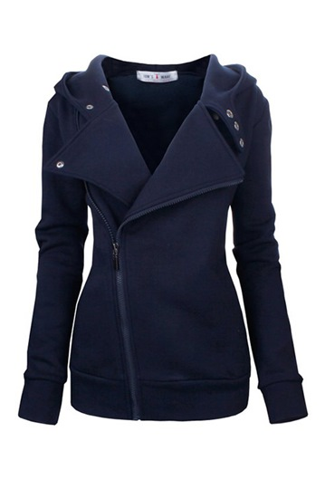 Solid Color Wide Lapel Zip-Front Women's Jacket